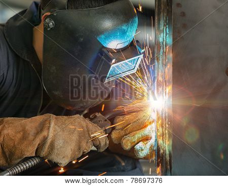 Worker Welding Construction By Mig Welding