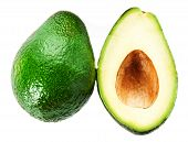 Avocado slice and whole ripe green avocado fruit isolated on a white background. Whole and half avocados macro poster