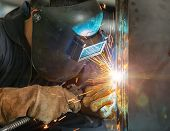 worker welding construction by MIG welding onsite poster