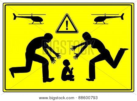 Father and mother paying extremely close attention to their child causing problems in child development poster