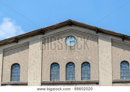 Factory Front View With Clock