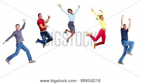 Group of happy jumping people isolated on white background.