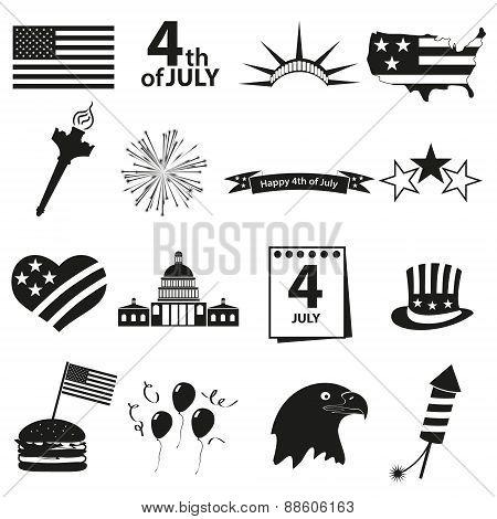 American Independence Day Celebration Icons Set Eps10