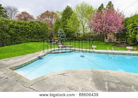 Backyard with outdoor inground residential private swimming pool and stone patio