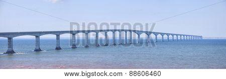 Panoramic view of Confederation Bridge from New Brunswick Canada.