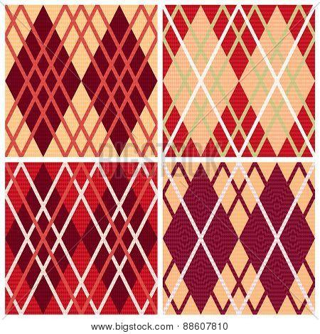 Four Rhombic Seamless Patterns