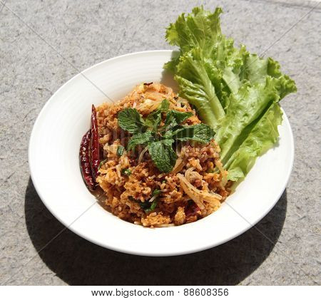 Yam Naem Khao Thot Recipe Spicy Salad of Curried Rice Croquettes Fermented Pork Ginger and Peanuts poster