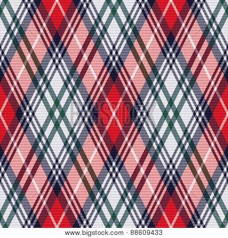 Rhombic Tartan Seamless Texture In Red And Light Grey Hues