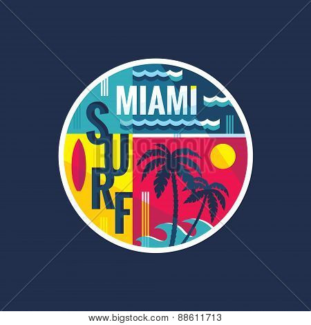 Surf - Miami - vector illustration concept in vintage graphic style for t-shirt