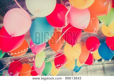 Colorful Balloons Floating On The Ceiling Of A Party In Childhood Memory