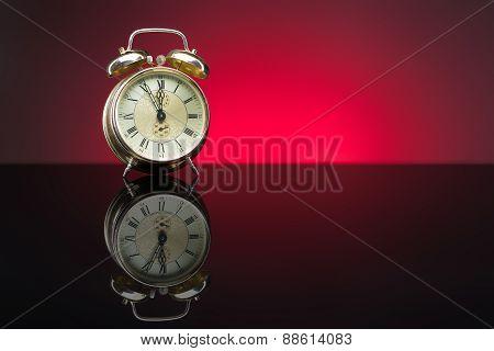 Retro Clock, Five To Twelve, Red Background