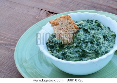 Homemade Creamed Spinach In A Bowl