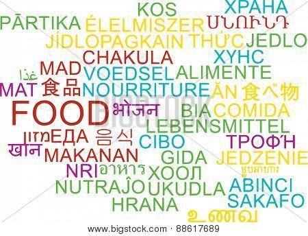 Background concept wordcloud multilanguage international many language illustration of food