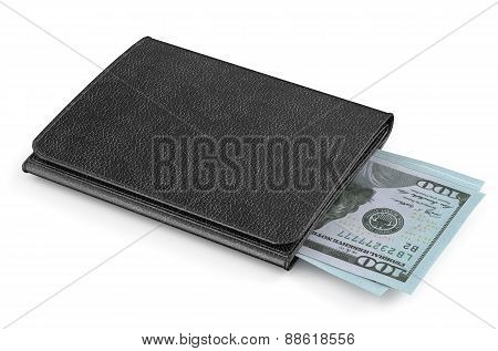 Black Leather Purse With Money