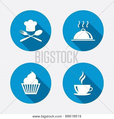 Food icons. Muffin cupcake symbol. Fork, spoon.