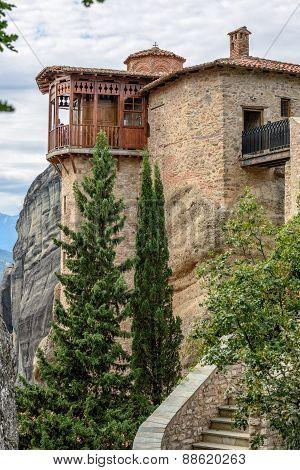 Monastery In Meteora Rocks. Greece