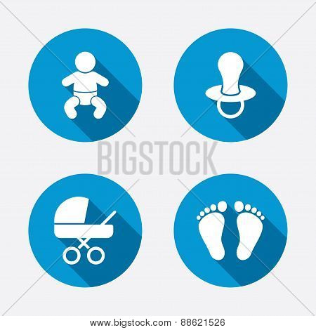 Baby infants icons. Toddler boy with diapers symbol. Buggy and dummy signs. Child pacifier and pram stroller. Child footprint step sign. Circle concept web buttons. Vector poster