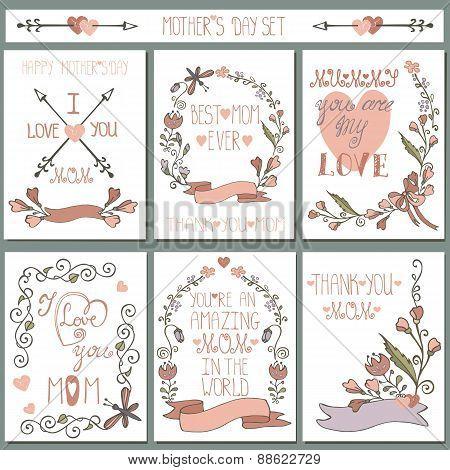 Vintage cards set.Doodle floral decor.Mothers day