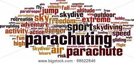 Parachuting word cloud concept. Vector illustration on white poster