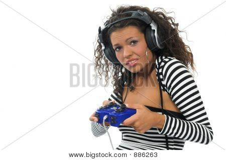 Beautiful Curly Brunette Girl Playing Game Console