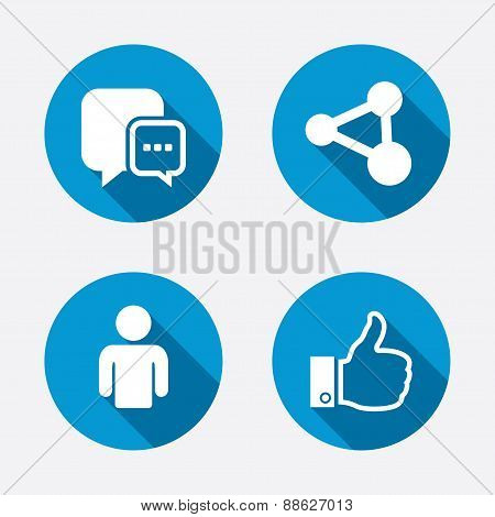Social media icons. Chat speech bubble and Share link symbols. Like thumb up finger sign. Human person profile. Circle concept web buttons. Vector poster