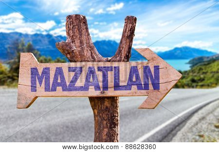 Mazatlan wooden sign with road background