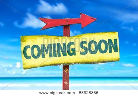 Coming Soon sign with beach background