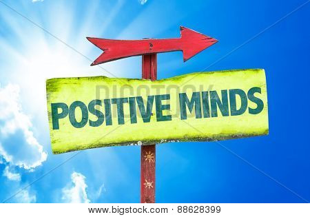 Positive Minds sign with sky background