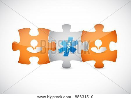 Puzzle Pieces And Medical Symbol Concept