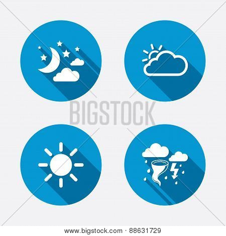 Cloud and sun icon. Storm symbol. Moon and stars