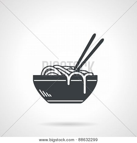 Single black silhouette vector icon for bowl with ramen or noodles with two chopsticks on white background poster