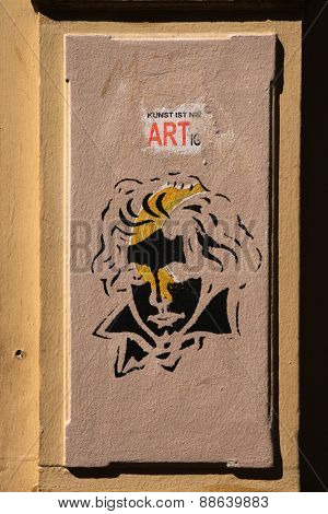 BONN, GERMANY - AUGUST 15, 2012: Beethoven graffiti next to the Beethoven House where Ludwig van Beethoven was born in 1770 in Bonn, North Rhine-Westphalia, Germany.