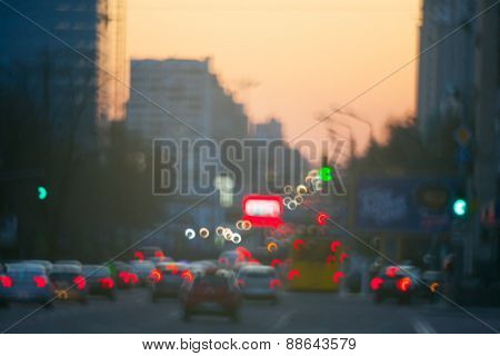 Blurred style taken sunset traffic
