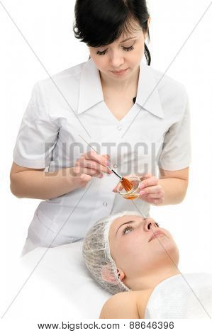 poster of beauty salon, facial peeling mask with retinol and fruit acids