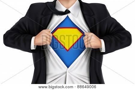 Businessman Showing Superhero Icon Underneath His Shirt