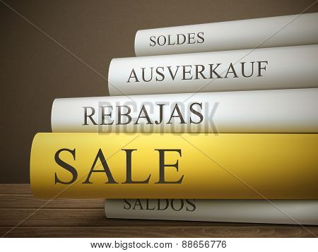 Book Title Of Sale Isolated On A Wooden Table
