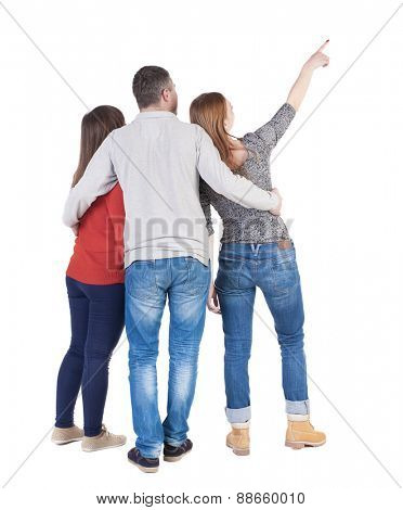 Back view of three friends pointing. group of people watching somewhere. Rear view people collection.  backside view of person.  Isolated over white background.