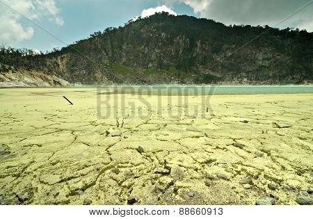 Sulfuric Mineral On The Floor Of Kawah Putih Crater Or