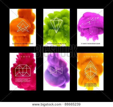Abstract Vector Color Cloud Backgrounds Set. Paint Fluid. Colorful Smoke. Isolated Ink in Water. Liquid Ink or Paint for Banners, Cards, Posters, Annual Reports and Placards Designs. Vector Template.