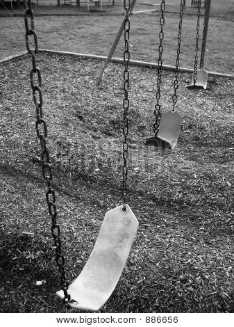 Empty School Swing Set In Black And White