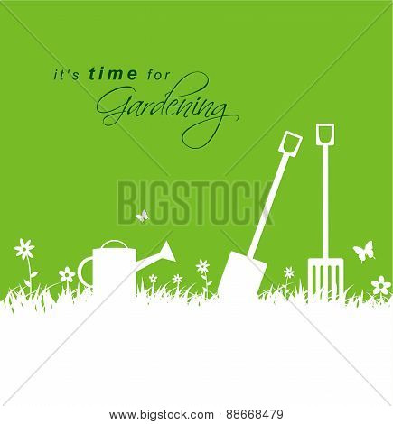 It's Time For Gardening .spring Gardening Background With Spade, Rake And Watering Can