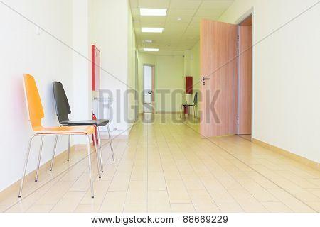 interior of a hospital hallway.