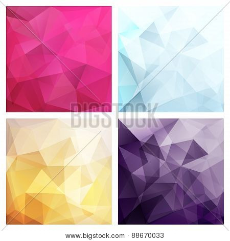 Set of four poly backgrounds for your design
