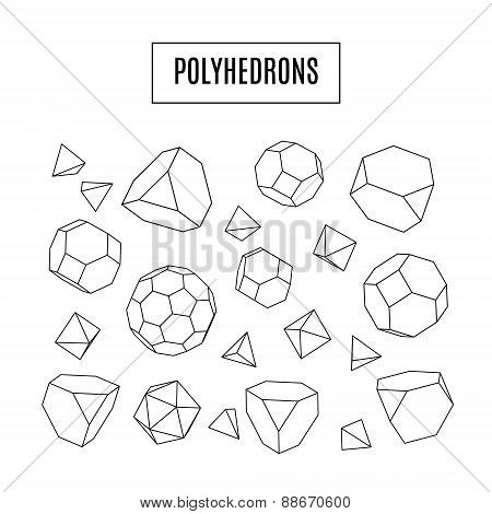 Set Of 3D Polyhedrons, Modern Hipster Line Art Icons, Crystals