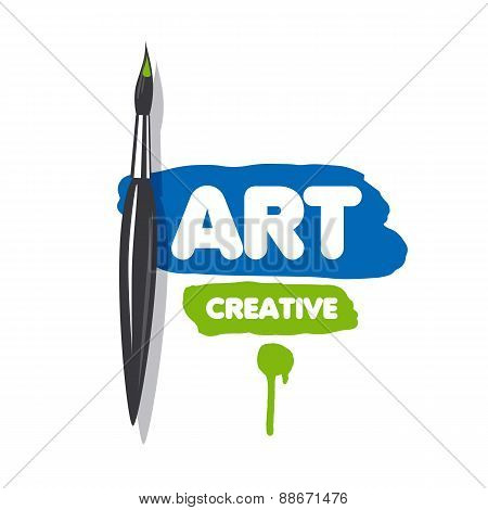 Vector Logo Brush And Blue And Green Paint