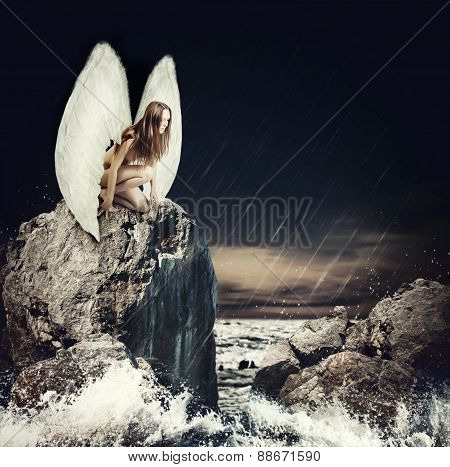 Sad Woman Angel With White Wings