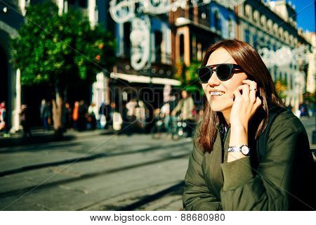 Happy Young Multiracial Caucasian / Asian Chinese Woman In Sunglasses Smiling And Call Your Friends.
