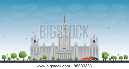 MGU. Moscow State University, Moscow, Russia. Vector illustration with cars and blue sky