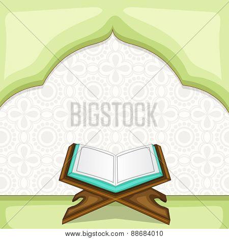 Holy month of muslim community, Ramadan Kareem celebration with illustration of open islamic book Quran Shareef on stylish background.