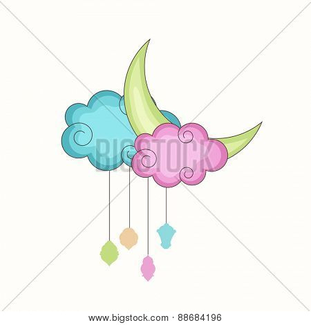 Holy month of muslim community, Ramadan Kareem celebration with colorful arabic lamps or lanterns hanging by clouds.